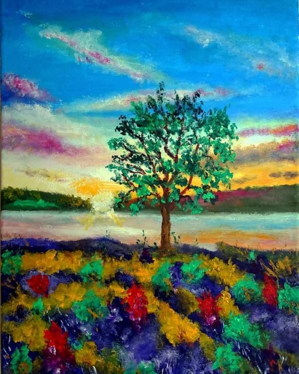 Samotne drzewo - olej